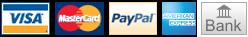 Visa, MasterCard, PayPal, AMEX, Bank