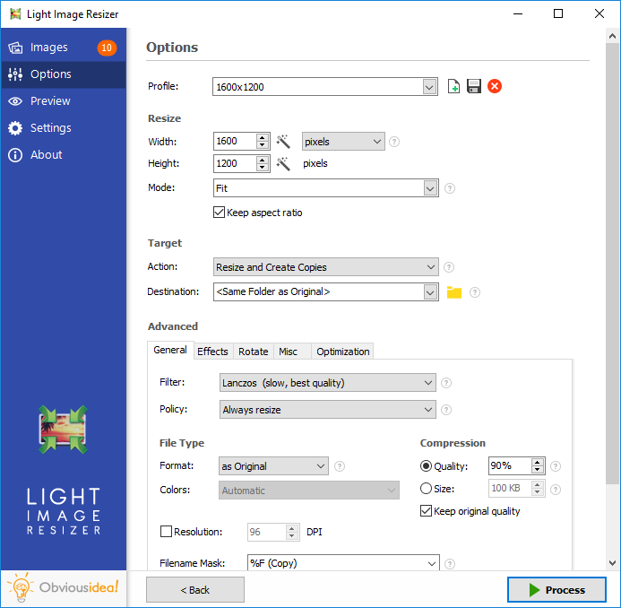 Light Image Resizer screenshot