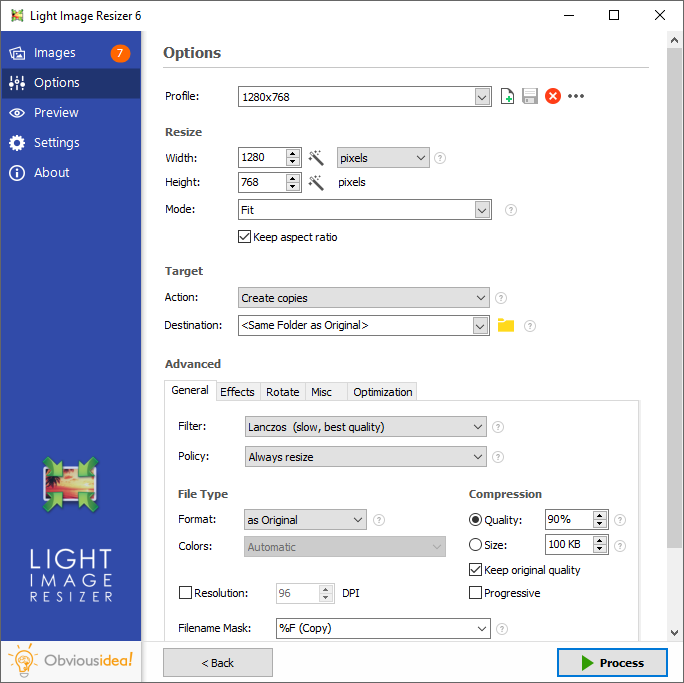 Light Image Resizer - options de
